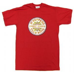 Beatles Sgt Peppers Lonely Hearts Club Band Mens Red T-Shirt